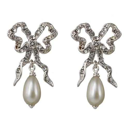 Bow-and-pearl-drop-earrings