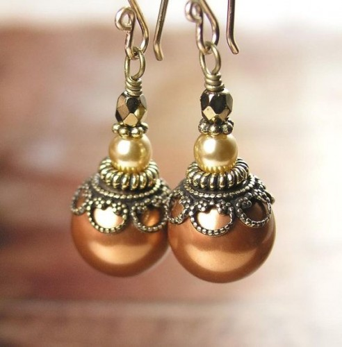 Copper-pearl-drop-earrings