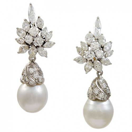 Diamond-pearl-drop-earrings