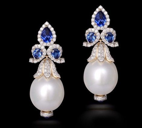 Sapphire-and-pearl-drop-earrings
