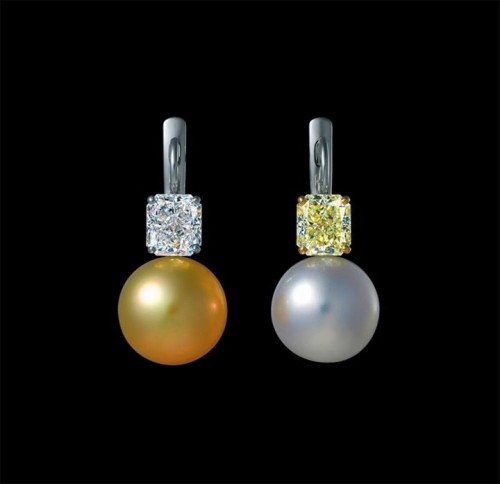 Yellow-white-pearl-drop-earrings