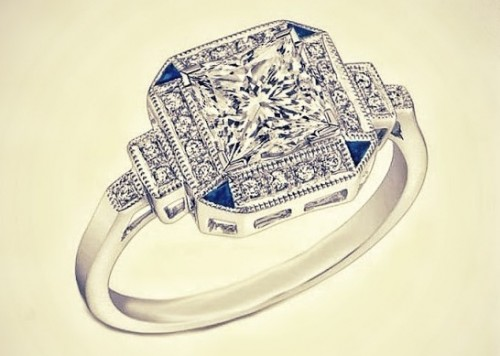 Art-Deco princess-Cut-diamond-rings