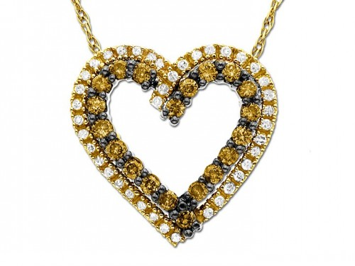 Champagne-diamond-heart-necklace-for-women