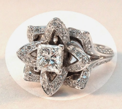 flower-princess-Cut-diamond-rings
