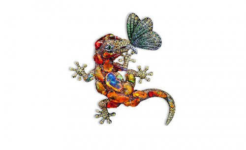 orange-opals-Lizard-brooch